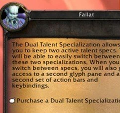 Player reactions to dual specs
