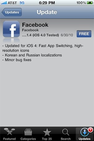 Facebook for iPhone / iPod touch now iOS 4 compatible
