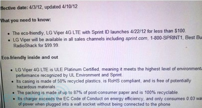 LG Viper 4G may hit Sprint stores on April 22nd