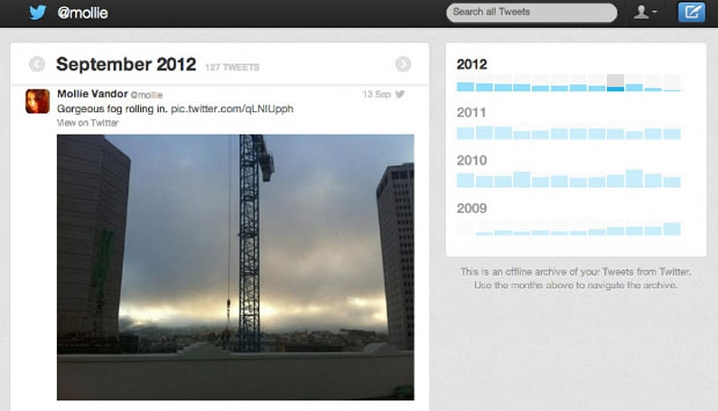 Twitter archive begins rolling out to users today, enables sorting by month and keyword