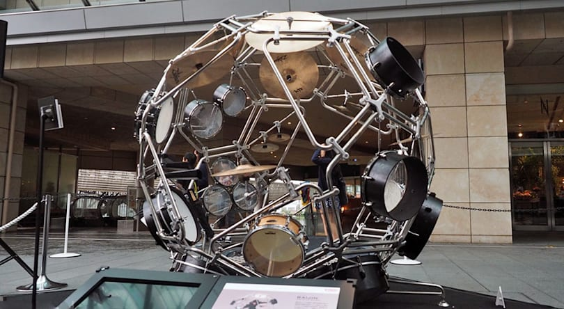 Yamaha's motorcycle design team made this 360-degree drum kit sphere