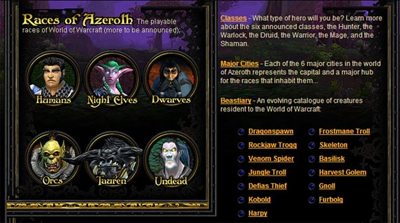 Take a trip in the Wayback Machine to the WoW website circa 2003