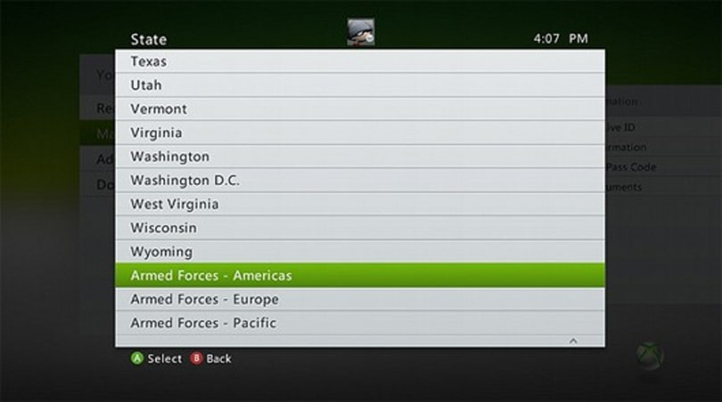 Armed Forces now have billing address option on Xbox Live