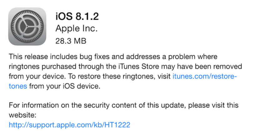 iOS 8.1.2 available now, fixes missing ringtone issue