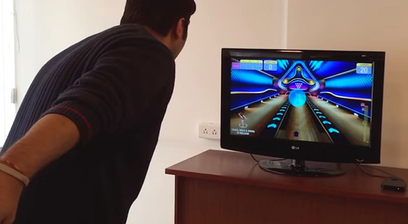 This iPhone bowling game uses Apple TV