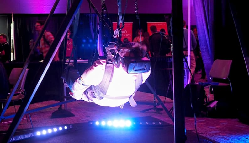 I strapped on a harness to fly in a virtual world