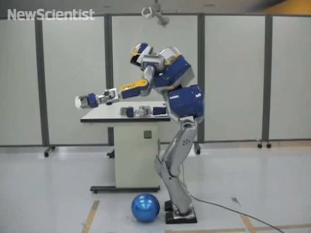 HRP-2 humanoid robot learns to use obstacles to its advantage