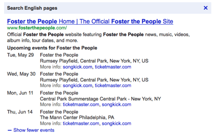 Google search now shows upcoming concerts, helps you find the next gig