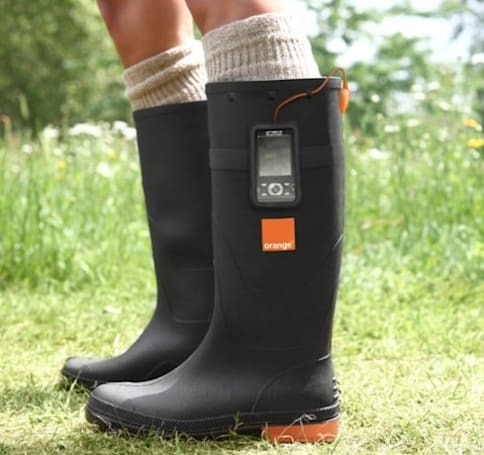 Orange Power Wellies convert all that dancin' to juice for your mobile
