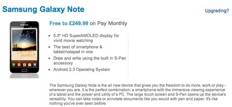 Samsung Galaxy Note now available on O2 in the UK, priced at around $400