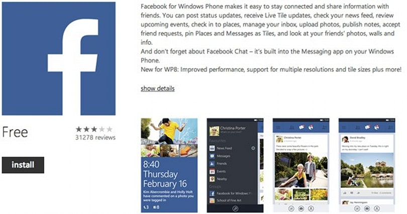 Facebook 5.0 for Windows Phone 8 now live, out of beta