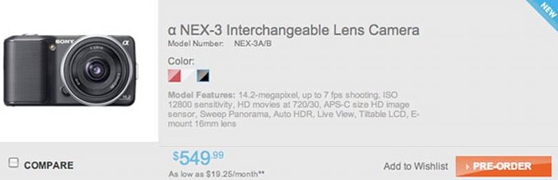 Sony Alpha NEX cameras now up for pre-order, start at $549 in US, €499 in Europe (updated)