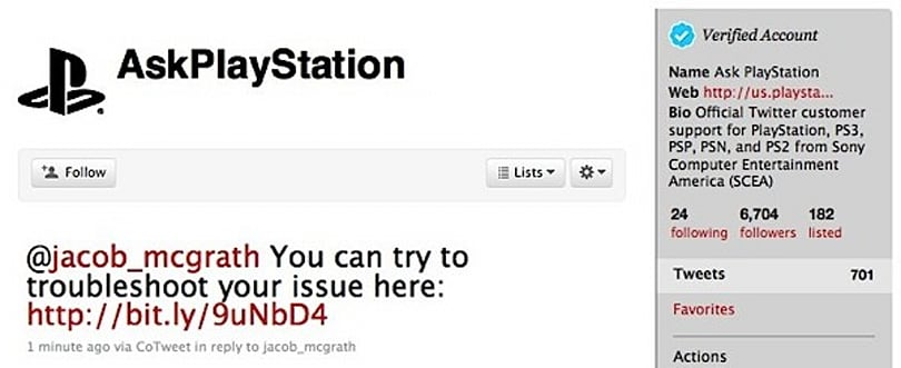 PlayStation now offers customer service via Twitter, probably won't help you jailbreak your PS3