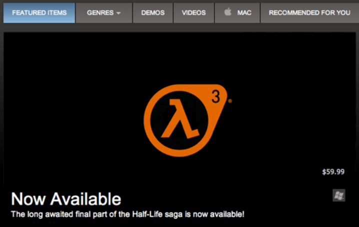 Valve puts fake Half-Life: Episode 3 listing on Steam for April Fools' Day [Update: Nope]