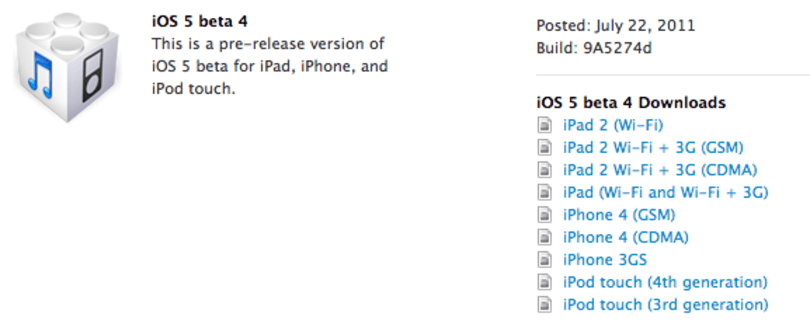 iOS 5 beta 4 released, we start the next jailbreak timer (update: time's up!)