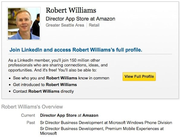 Former Windows Phone Director Robert Williams joins Amazon, stirs rumor pot