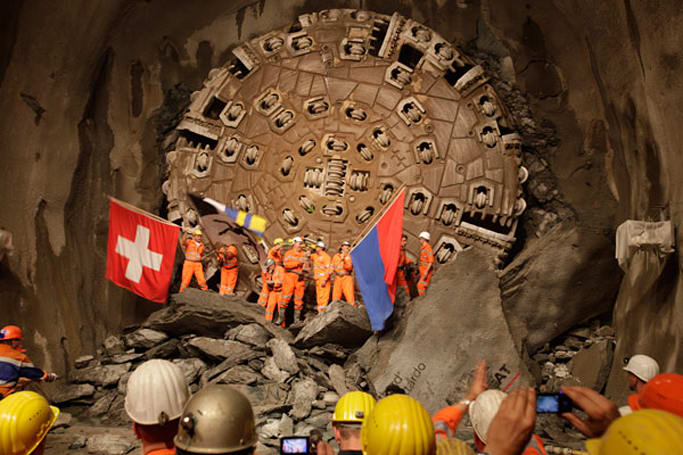 World's longest railway tunnel sees completion, should be zipping beneath the Alps in 2017