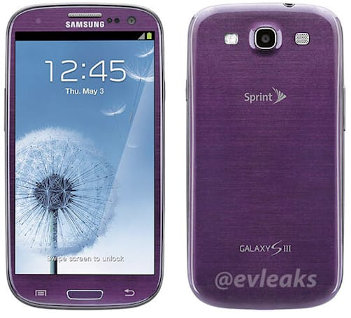 Samsung Galaxy S III leaked in purple, pegged for April release on Sprint