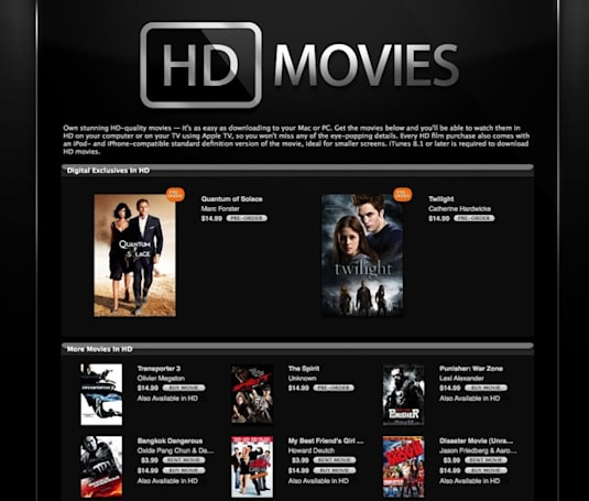 Where are the HD Movie rentals in iTunes?