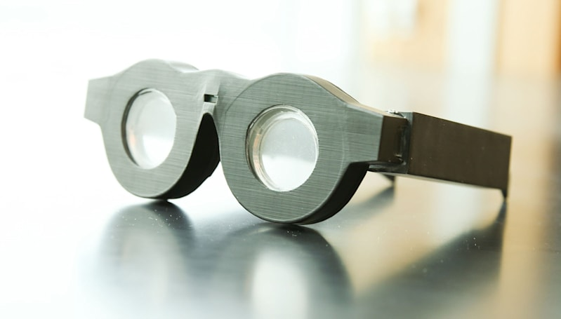 Electronic glasses auto-focus on what you're looking at
