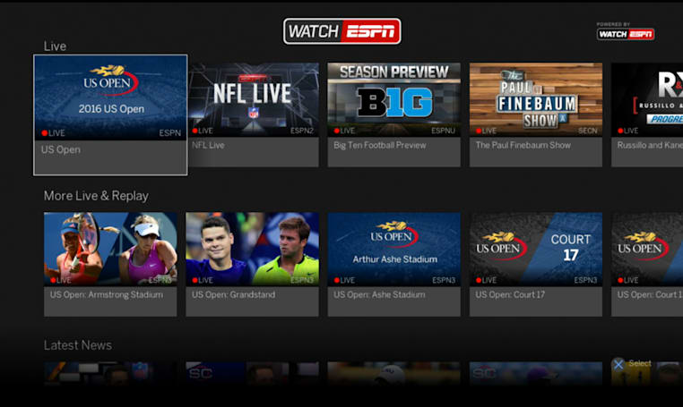 WatchESPN's live and on-demand streaming arrives on PS4