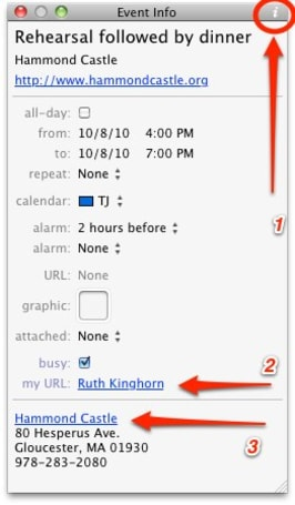 BusyCal Info Panel Preferences give you more event options