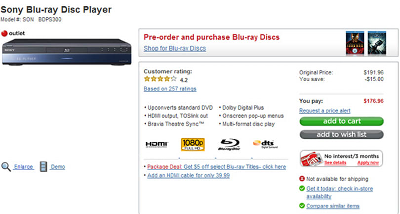Forget Black Friday -- $175 Sony BDP-S300 Blu-ray player here now