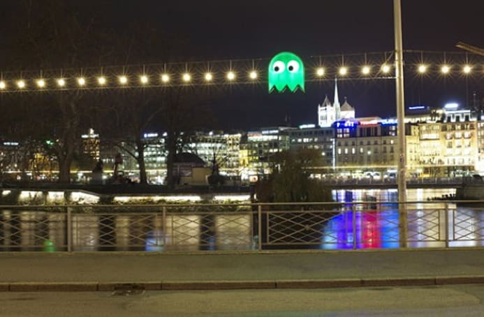 Pac-Man glows 'green' in Switzerland's Festival of Trees and Lights