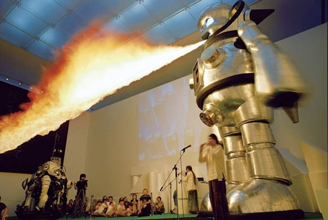 Caption Contest: Fire-breathing robot scuttles into choir practice