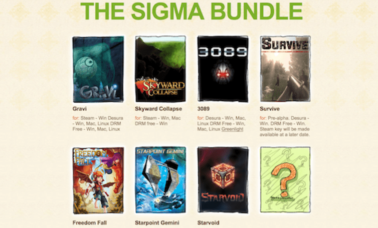 Indie Royale Sigma Bundle has seven games and a question mark