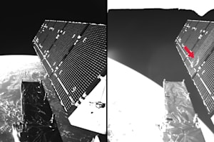 A tiny space pebble just put a huge dent in an ESA satellite