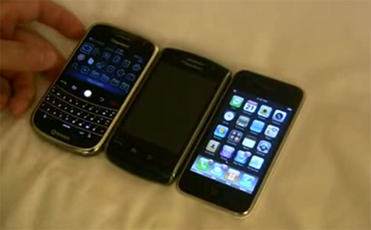 iPhone 3G, BlackBerry Storm and Bold compared on video: awkward...