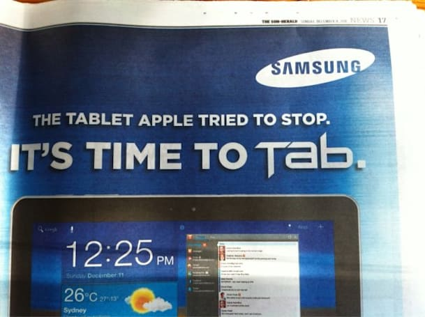 Samsung takes aim at Apple with Australian Galaxy Tab ad, credits Cupertino for its popularity