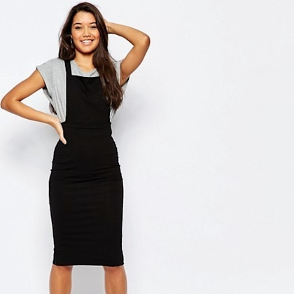 ASOS Column Pinafore Dress In Midi Length