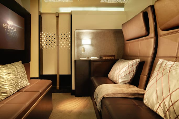 Etihad's A380 'Residence' has a lounge, double bed and an en-suite shower