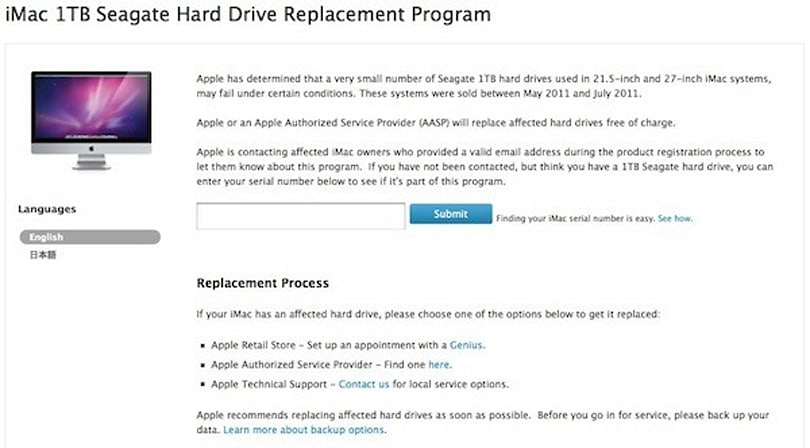 Apple initiates replacement program for 'small number' of iMacs with 1TB Seagate HDDs