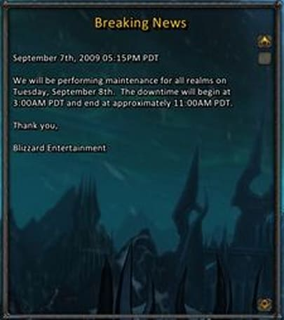 Maintenance for Tuesday September 8th