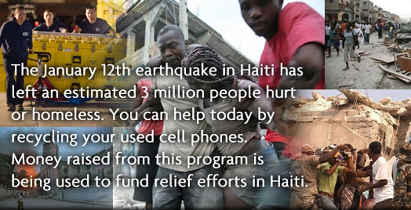 ReCellular will recycle your phone and donate all proceeds to Haiti disaster relief
