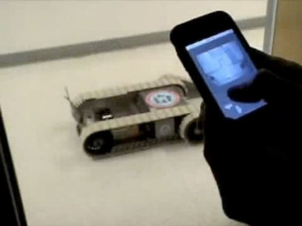 Native iPhone app controls Packbot via WiFi, delivers streaming POV video