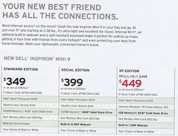 Leaked flyer reveals pricing, configurations for Dell Inspiron Mini 9