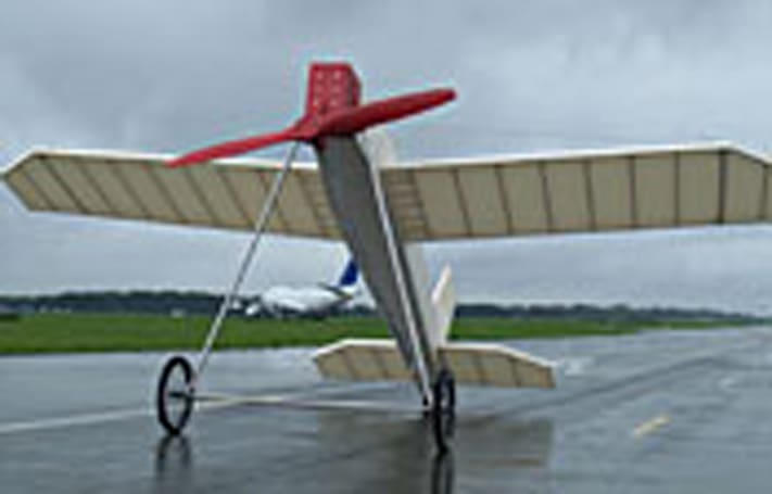 Life-sized balsa wood toy plane fails to liftoff