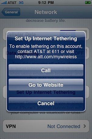 iPhone OS 4.0 beta 4 includes AT&T tethering option