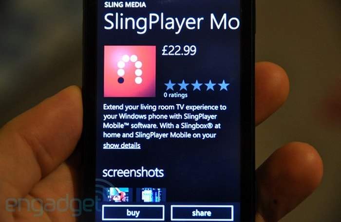 SlingPlayer arrives in Windows Phone 7 Marketplace, headed to iPad next (updated)