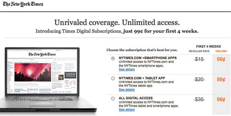 New York Times nears half-million online subscriber mark, halves free article allowance to celebrate