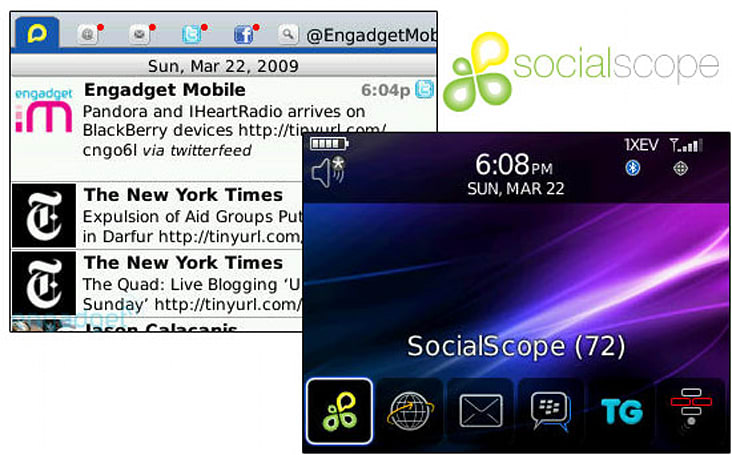 SocialScope for BlackBerry impressions (and invites!)