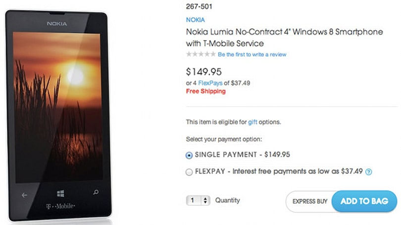 HSN's order page for T-Mobile's Lumia 521 goes live early