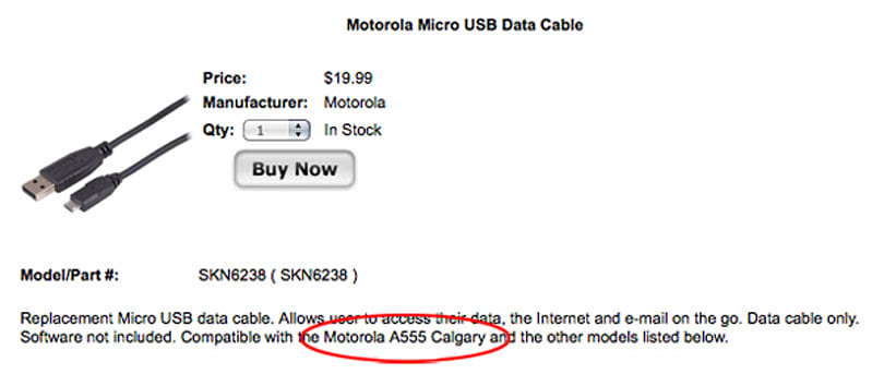 Accessory listing suggests Verizon's Motorola Calgary is near