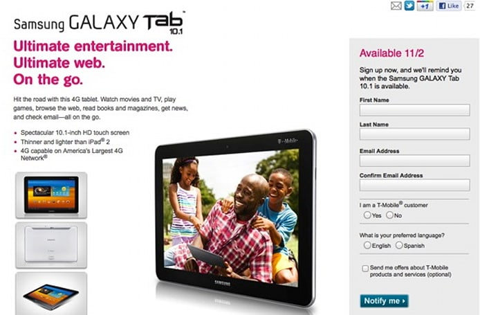 T-Mobile Springboard and Galaxy Tab 10.1 finally get official launch dates