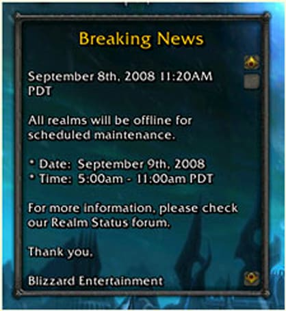 Beta realms down tomorrow for maintenance