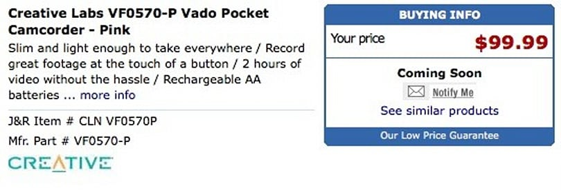 Creative's Vado cheapcorder revealed by JR.com